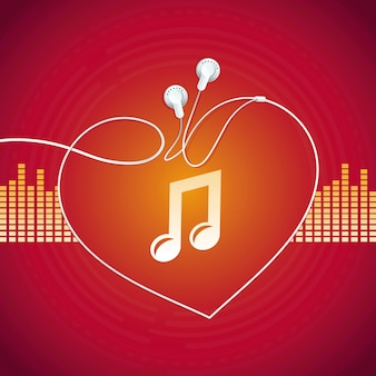 Vector music concept, heart shape
