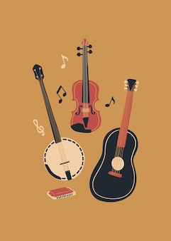 Vector music design with banjo acoustic guitar violin notes and harmonica