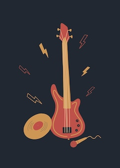 Vector music design with bass guitar vinyl microphone and lightning