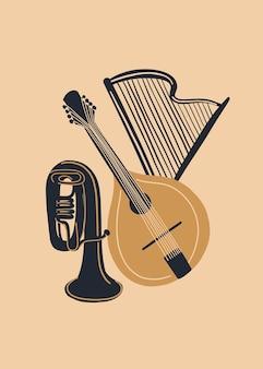 만돌린 하프와 튜브 또는 트럼펫이 있는 벡터 음악 디자인
