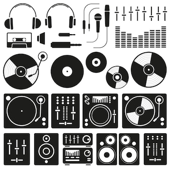 Vector music icons of dj staff and any equipment set