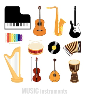Vector music instruments flat icons isolated on white background