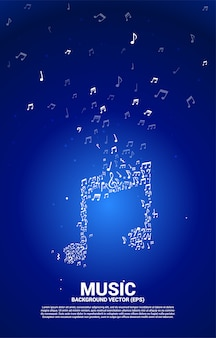 Vector music melody note dancing flow. concept background for song and concert theme.