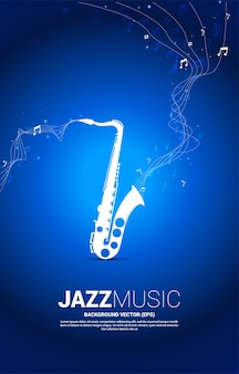 Вектор музыкальная мелодия примечание танцевальный поток от саксофона. концепция фон для джазовой песни и концертной темы.