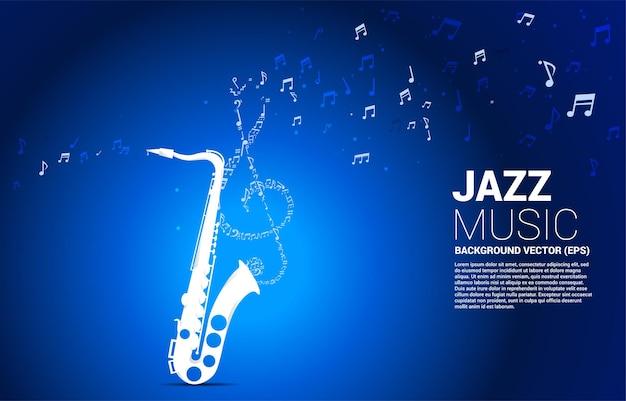 색소폰에서 벡터 음악 멜로디 노트 춤 흐름. 재즈 노래와 콘서트 테마에 대한 개념 배경입니다.