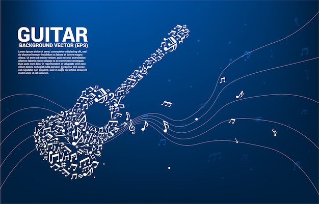 Vector music melody note dancing flow shape guitar icon