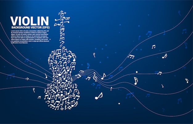 Vector music melody note dancing flow shape violin icon .