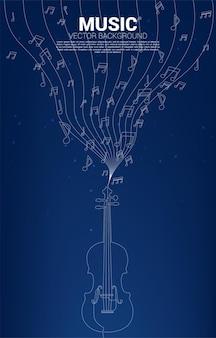 Вектор музыкальная мелодия примечания танцует поток с одной линией скрипки. концепция фон для классической песни и концертной темы.