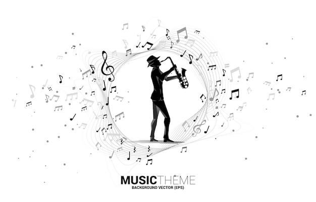 Векторный поток нот мелодии музыки с человеком и саксофоном. концепция фон для джазовой песни и концертной темы.