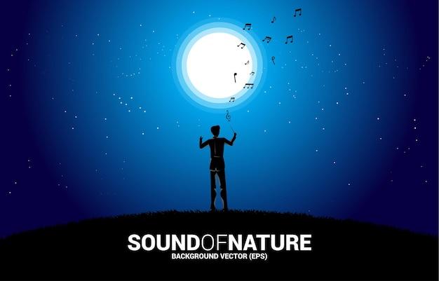 달 아래 벡터 음악 오케스트라 지휘자입니다. 자연 및 봄 시간에 대한 음악에 대한 배경 개념.
