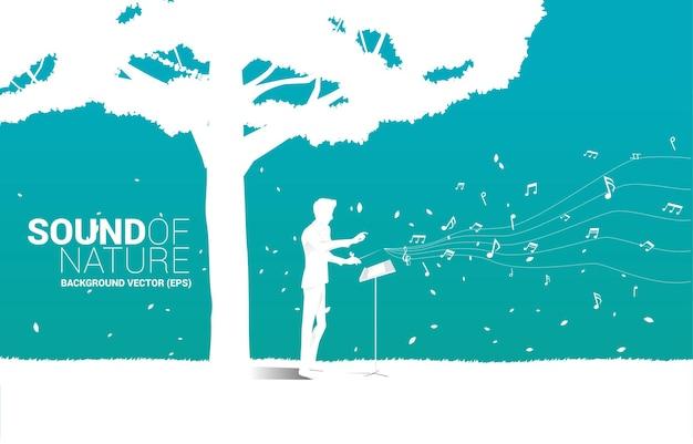 큰 나무와 벡터 음악 오케스트라 지휘자입니다. 자연 및 봄 시간에 대한 음악에 대한 배경 개념.