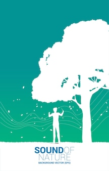 Vector music orchestra conductor with big tree. background concept for music for natural and spring time.