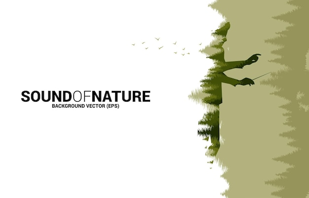 Vector music orchestra conductor with green forest. background concept for music for natural and spring time.