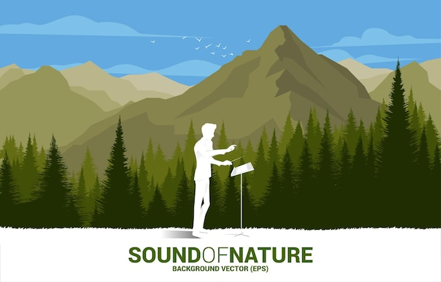 Vector music orchestra conductor with green forest and big mountain. background concept for music for natural and spring time.