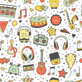Vector musical pattern, doodle style. seamless musical texture. hand drawn design elements: notes and headphones, player, musical instruments.