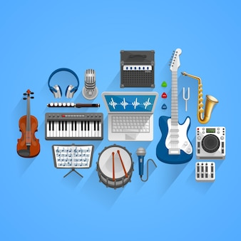 Vector musical tools style. illustration art icon