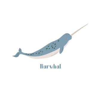 Вектор нарвалский кит. иллюстрации шаржа на белом фоне для наклейки, дизайн