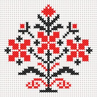 Вектор национальный белый и красный растительный орнамент беларуси. славянский этнический узор. вышивка, вышивка крестиком