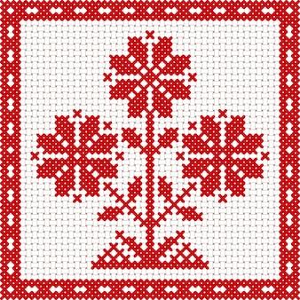 Вектор национальный белый и красный растительный орнамент беларуси