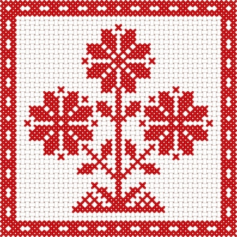 Vector national white and red belarus floral ornament