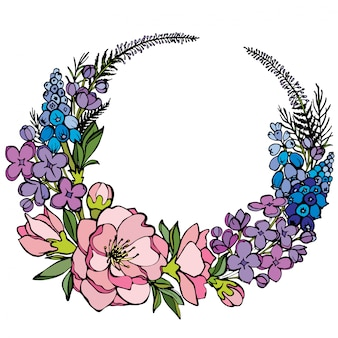 Vector natural round frame with roses, lilac, muscari and magnolia flowers