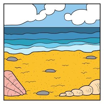 Векторная иллюстрация природы, цветной фон. пляж на тропическом острове
