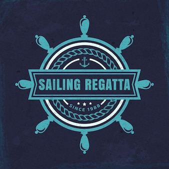 Vector nautical emblem with steering wheel and sailing regatta inscription on a grunge background.