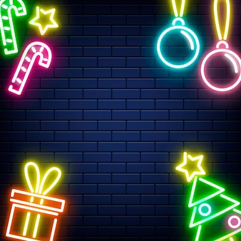Vector neon christmas new year background on wall