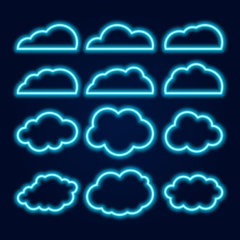 Vector neon cloud icons set, glowing bright blue lines on dark