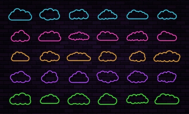 Vector neon clouds set shining on dark background abstract electric light frame