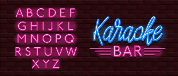 Vector neon glow font karaoke bar music