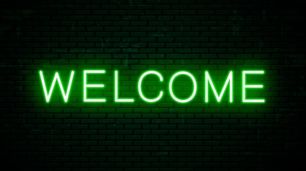 Vector neon inscription welcome for signboard