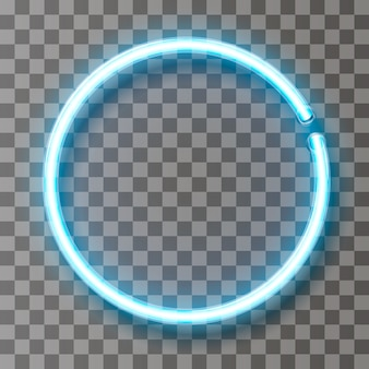 Vector neon light line circle in motion