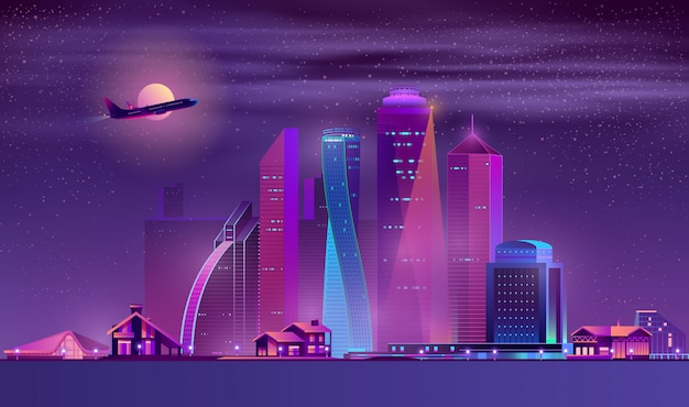 Vector neon megapolis background with buildings, houses