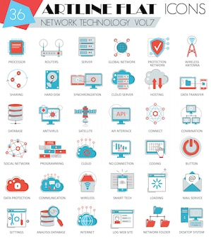 Vector network technology ultra modern outline artline flat line icons for web and apps.