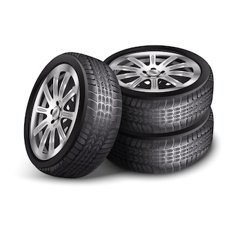 Vector new car tires, wheels with alloy rims. isolated on white background.