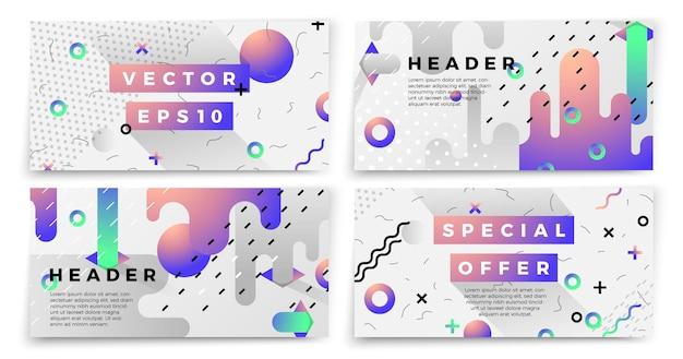 Векторные новые шаблоны баннеров в стиле мемфис, белый современный фон с геометрическими фигурами и место для вашего текста.