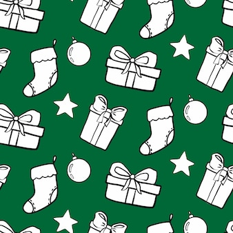 Вектор новый год рождество бесшовные модели на зеленом фоне каракули зимние праздники повторять печать