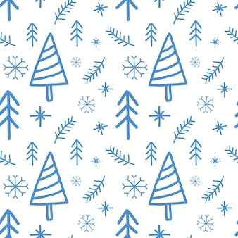 Vector new year, christmas seamless pattern on white background. blue doodle winter design. xmas repeat print. snowflake, fir tree ornament.