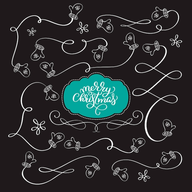 Vector new year collection hand drawn christmas elements dividers gauntlets garland, border