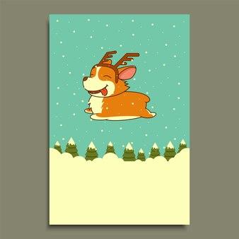 Вектор новогодняя собака на фоне зимнего леса. собака вельш-корги. на рождество, новогодний плакат, флаер, поздравительная открытка, праздник, праздник, вечеринка, зоомагазин, приют, украшение аптеки.