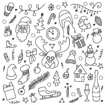 落書きの輪郭のアイコンのスタイルで白い背景に設定されたベクトル新年クリスマス