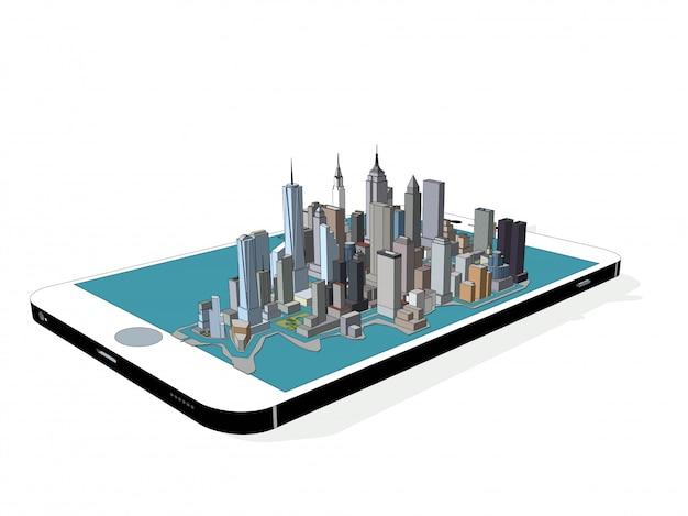 Vector new york city on the phone 3d