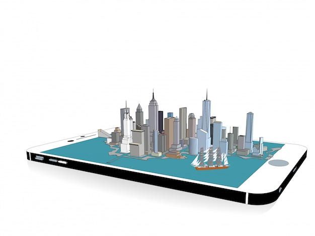 Vector new york city on the phone 3d