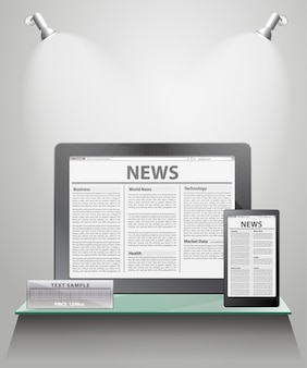 Vector news on generic tablet pc on shelves