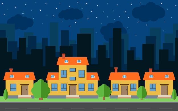 만화 집과 건물 벡터 밤 도시입니다. 평면 스타일 배경 개념에 도로와 도시 공간. 여름 도시 풍경입니다. 배경에 도시 풍경과 스트리트 뷰