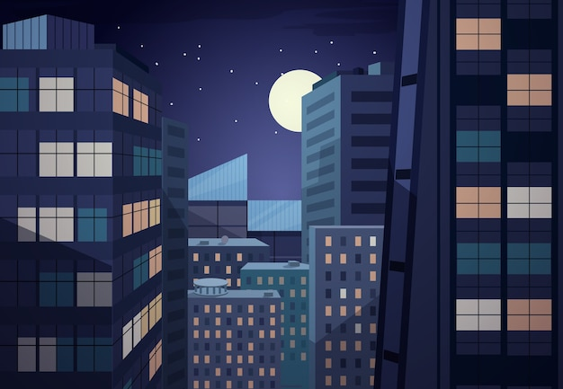 Paesaggio urbano notturno di vettore. progettazione urbana, ufficio commerciale, luna e cielo