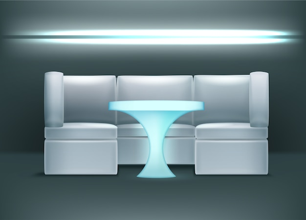 Vector night club interior in blue colors with backlights, armchairs and illuminated table