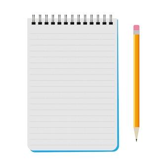 白い背景の上の黄色の鉛筆でベクトルノートブック