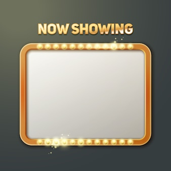 Vector now showing sign with illuminated frame front view isolated on dark background